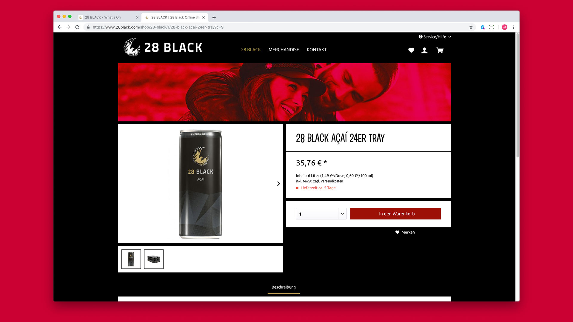 28BLACK Webshop Energydrinks Produktseite