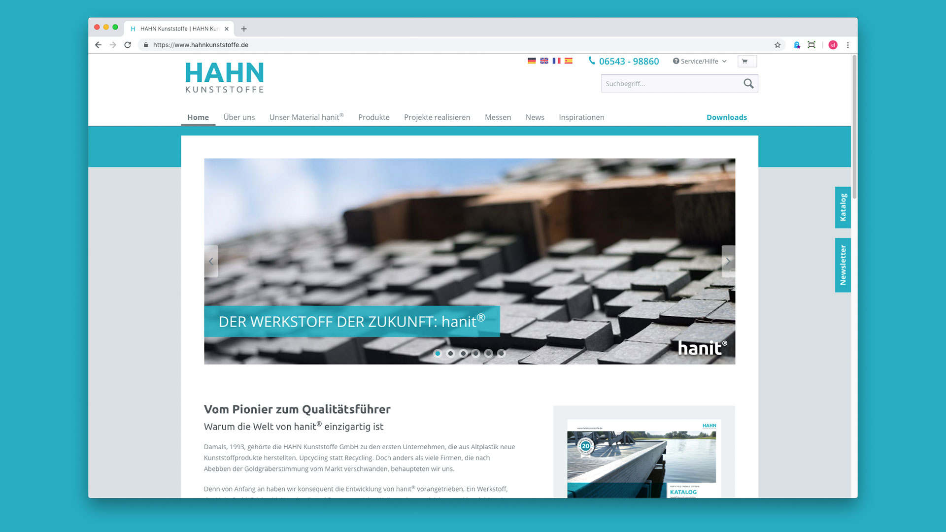 Hahn Kunststoffe Website Homepage