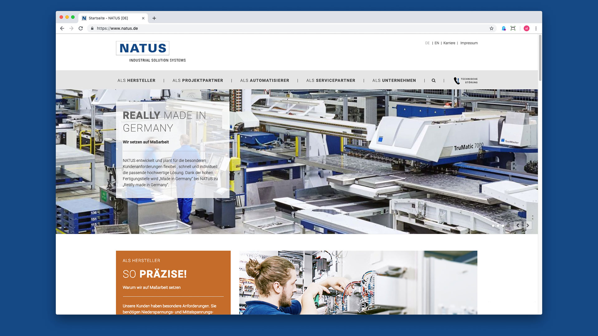 Natus Onlineauftritt Screen